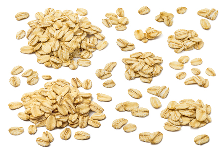 Photo for Oatmeal flakes set isolated on white background. For rolled oats product package design - Royalty Free Image