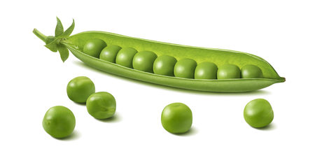Foto de Fresh green pea pod with beans isolated on white background. Horizontal design element with clipping path - Imagen libre de derechos