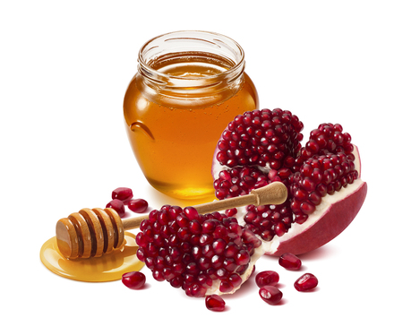 Photo pour Pomegranate and honey jar isolated on white background. Design element with clipping path - image libre de droit