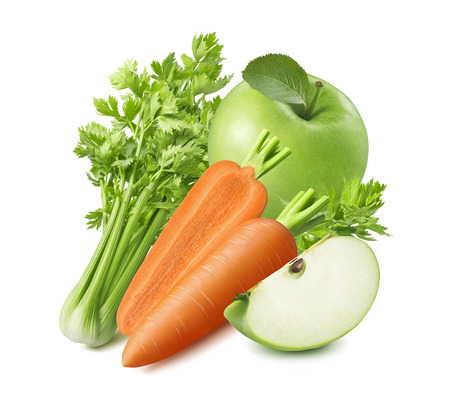 Photo for Celery, carrot and green apple isolated on white background. - Royalty Free Image