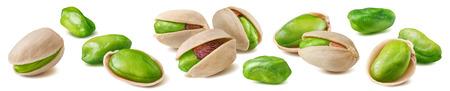 Photo pour Shelled pistachio nut set isolated on white - image libre de droit
