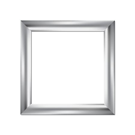 Illustration pour Silver picture frame, square background, vector illustration - image libre de droit