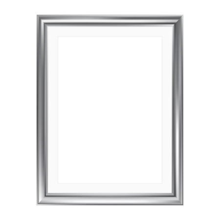 Ilustración de Silver picture frame with mat frame, isolated on white, A4 size - Imagen libre de derechos