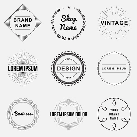 Illustrazione per Set of retro vintage badges and label logo graphics. Design elements, business signs, labels, logos, circle design - Immagini Royalty Free