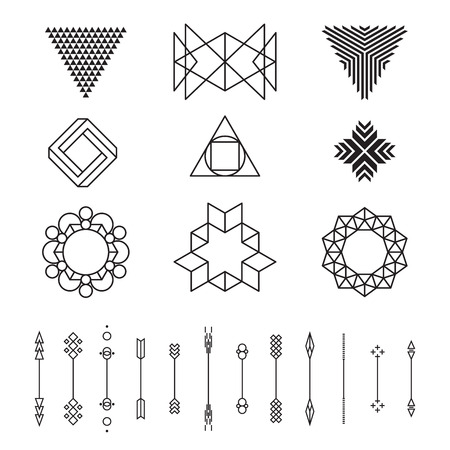 Illustration for Set of geometric shapes, vector illustration, isolated, line design - Royalty Free Image