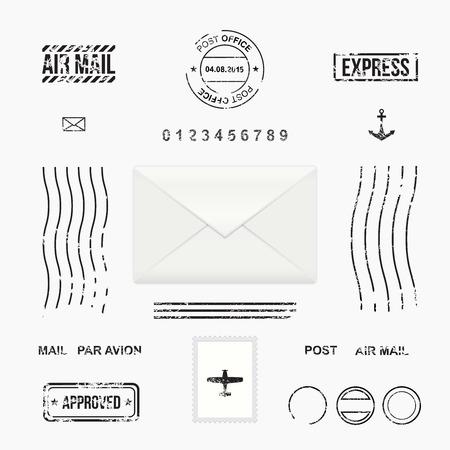 Illustration pour Set of post stamp symbols, mail envelope, vector illustration - image libre de droit