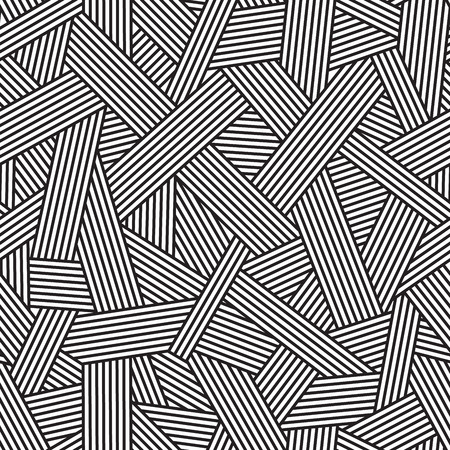 Photo pour Black and white seamless pattern, geometric background with interweaving lines, vector illustration - image libre de droit