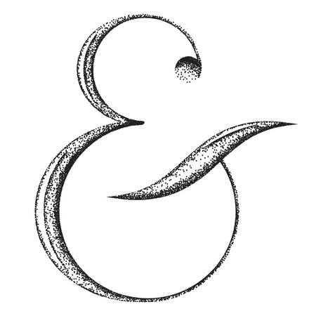 Illustration pour Ampersand, pointillism technique, vector illustration on white background - image libre de droit