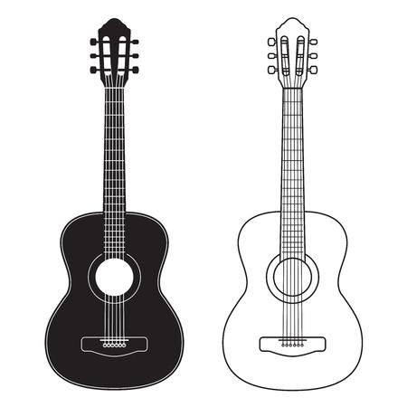 Ilustración de Guitar icon, silhouette, line design. Vector illustration isolated on white - Imagen libre de derechos