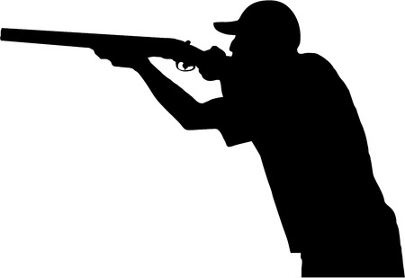 Photo for hunter shoots his gun, silhouette on white  - Royalty Free Image