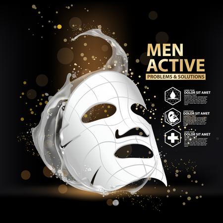 Ilustración de collagen solution mask sheet Skin Care Cosmetic. - Imagen libre de derechos