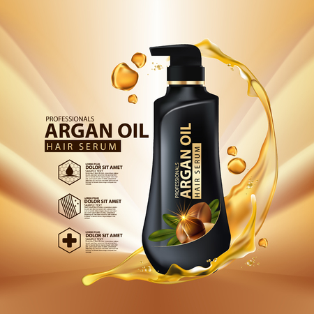 Ilustración de argan oil hair care protection contained in bottle ,golden and black background 3d illustration - Imagen libre de derechos