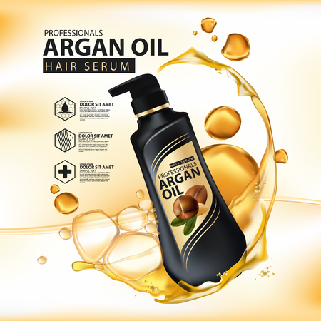 Ilustración de argan oil hair care protection contained in bottle ,golden and black background 3d illustration - Imagen libre de derechos