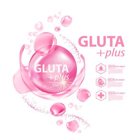 Ilustración de Gluta collagen Serum Skin Care Cosmetic vector illustration. - Imagen libre de derechos