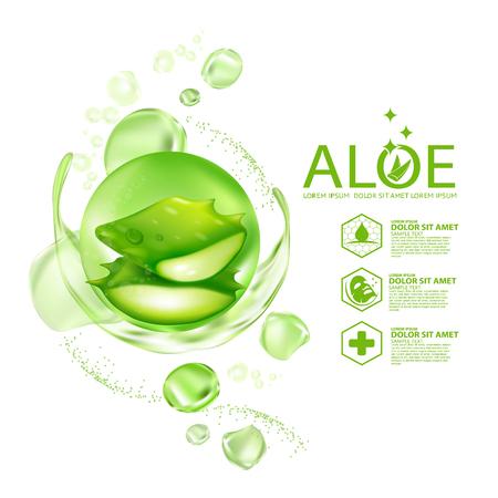 Ilustración de Aloe Vera collagen Serum Skin Care Cosmetic. - Imagen libre de derechos