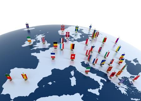 Photo pour european countries 3d illustration - european continent marked with flags  - image libre de droit