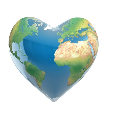 love planet 3d concept - heart shaped earth isolated on white