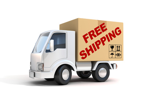 Photo pour free shipping van loaded with cardboard box - image libre de droit