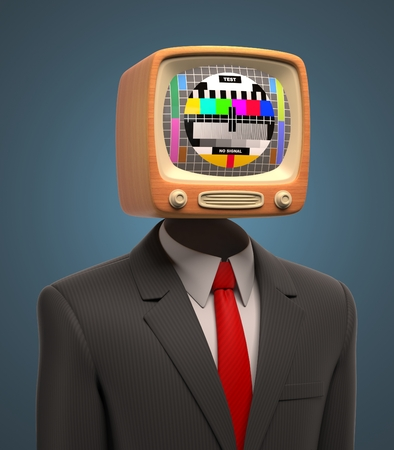 Photo for business man with retro tv on his head - Royalty Free Image