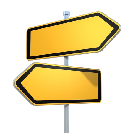 Photo for two blank road signs pointing in the different directions - Royalty Free Image