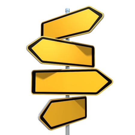 Photo pour blank road signs pointing in the different directions - image libre de droit