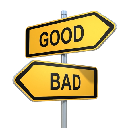 Foto de two road signs - good or bad choice - Imagen libre de derechos