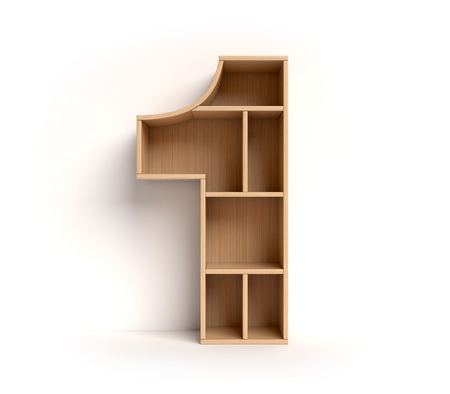 Photo pour Number 1 shaped shelves - image libre de droit