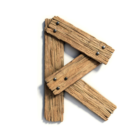 Photo for Wood font, plank font letter  R - Royalty Free Image