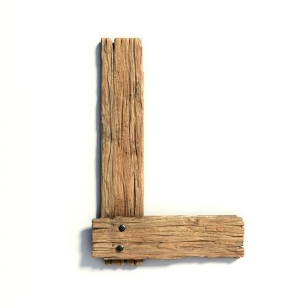 Photo pour Wood font, plank font letter  L - image libre de droit