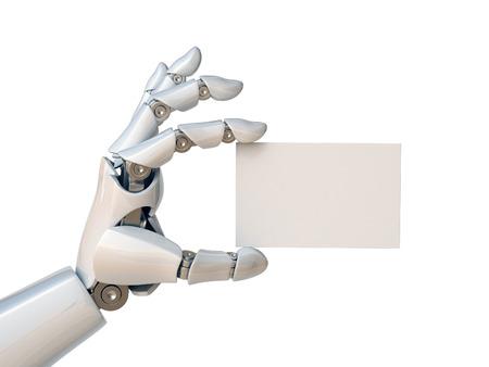 Foto de Robot hand holding a blank business card 3d rendering - Imagen libre de derechos