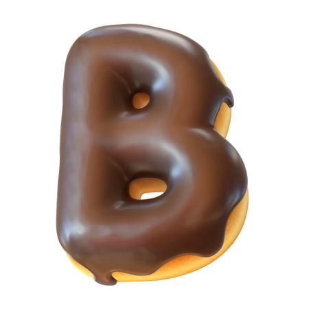 Photo for Glazed donut font 3d rendering letter B - Royalty Free Image