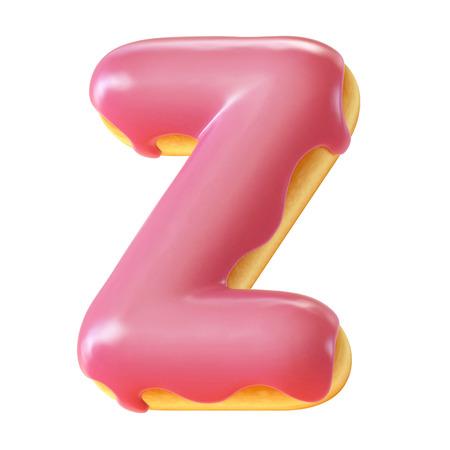 Photo for Glazed donut font 3d rendering letter Z - Royalty Free Image