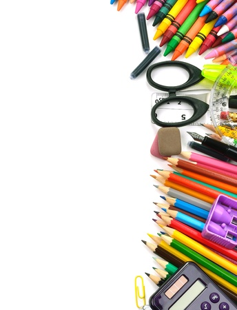 Photo for School and office supplies frame, on white background, back to school - Royalty Free Image