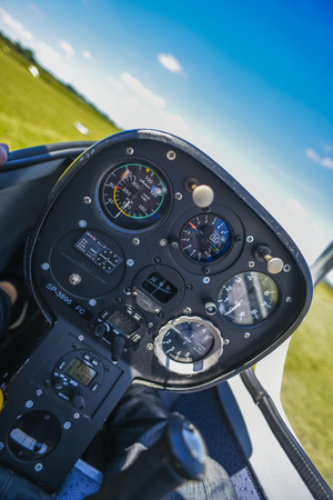 Foto de Cockpit od the saiplane, sailplane inside. - Imagen libre de derechos