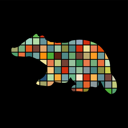 Badger mammal color silhouette animal