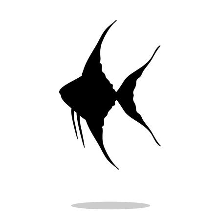 Scalare fish black silhouette aquatic animal. Vector Illustrator.