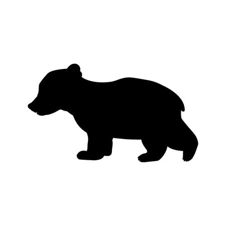 Illustration pour Bear cub wild black silhouette animal. Vector Illustrator. - image libre de droit