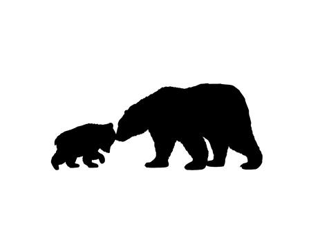 Illustration pour Bear family black silhouette animals. - image libre de droit