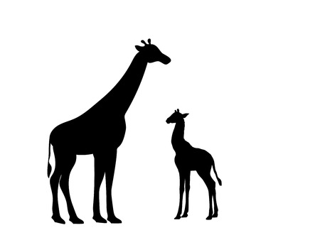 Illustration pour Giraffe and giraffe cub mammal silhouette animal - image libre de droit