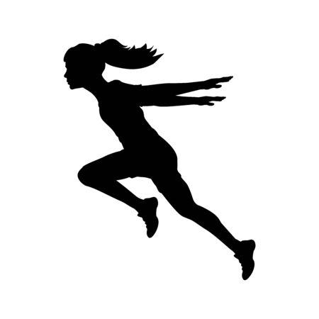 Ilustración de Silhouette running girl hands back - Imagen libre de derechos
