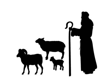 Illustrazione per Holiday silhouettes christmas Nativity. Shepherd grazes flock sheep. - Immagini Royalty Free