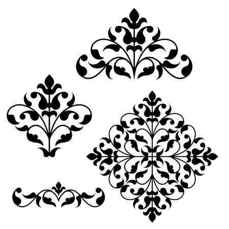 Ilustración de Set of ornamental floral elements for design in vintage stile. - Imagen libre de derechos