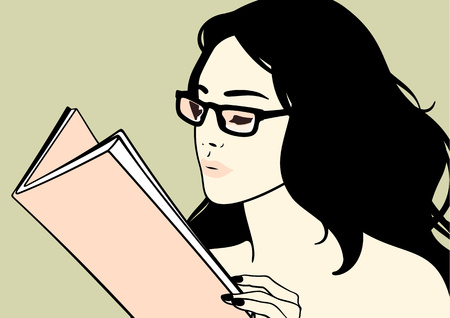 Illustration for Beautiful brunette girl in glasses reading a book - Royalty Free Image