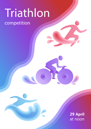 Ilustración de Swimming, cycling, and running triathlon milestones vertical banner template. Colorful vector illustration for web and printing. - Imagen libre de derechos