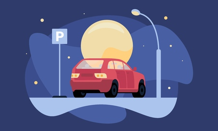 Illustration pour Overnight parking vector illustration with red car near parking sign by moonlight and lantern for web and printing. - image libre de droit