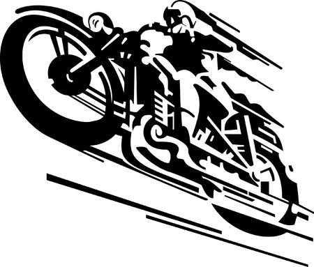 Stylized motorcyclist vector background