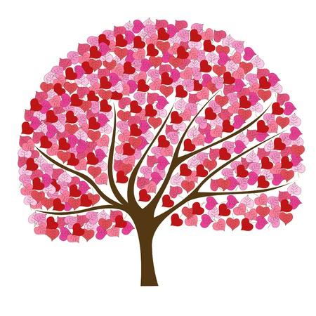 Illustration for Beautiful and romantic pink tree illustration - Royalty Free Image