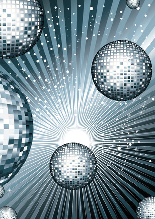 Illustration pour Disco ball with metallic siribryastoho Color mirrored reflections of light on bright shiny background with reflections - image libre de droit