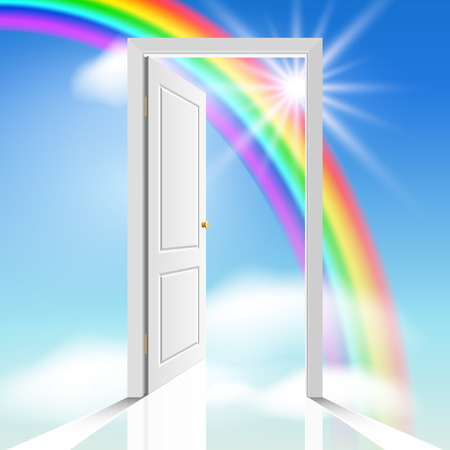 Illustration for heavenly white door through which visible celestial cloud and sun - Royalty Free Image