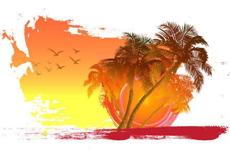 Illustration pour Palm trees at sunset background  Palm trees and birds key  Miami  Maldives  Canary Islands  - image libre de droit